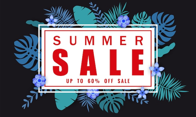 Zomer verkoop sjabloon voor spandoek voor seizoensgebonden verkoop met tropische bladeren achtergrond, kleur exotische bloemdessin banner