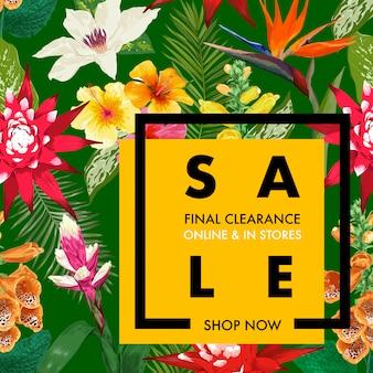 Zomer verkoop sjabloon voor tropische banners. seizoensgebonden promotie met exotische bloemen en bladeren.