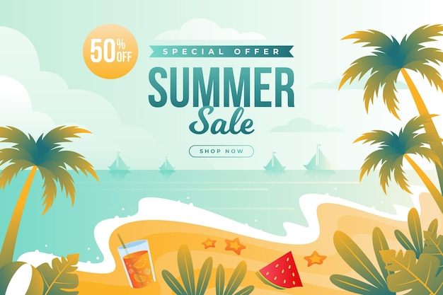 Zomer verkoop strand met palmen