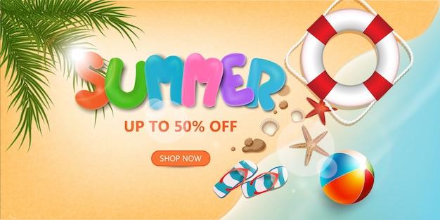 Zomer verkoop tekst en strandvakantie elementen promotie winkelen, zomer promo web banner sjabloon achtergrond 3d-stijl
