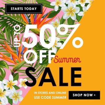 Zomer verkoop tropische banner met bloemen