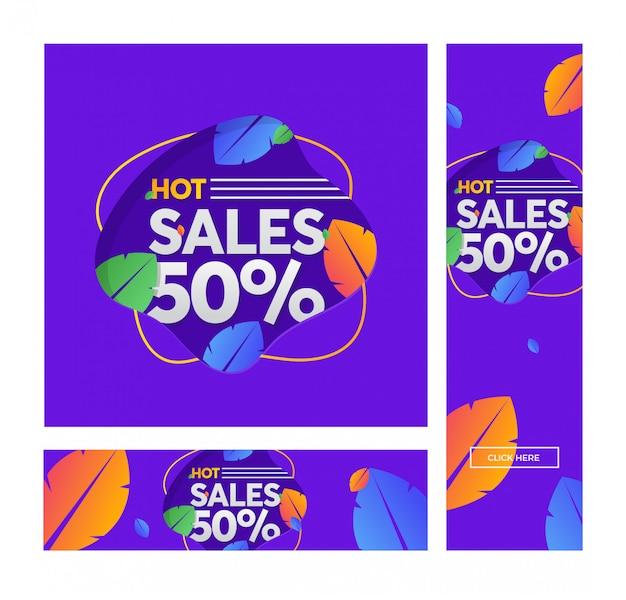 Zomer verkoop vector banner met bladeren in moderne stijl.