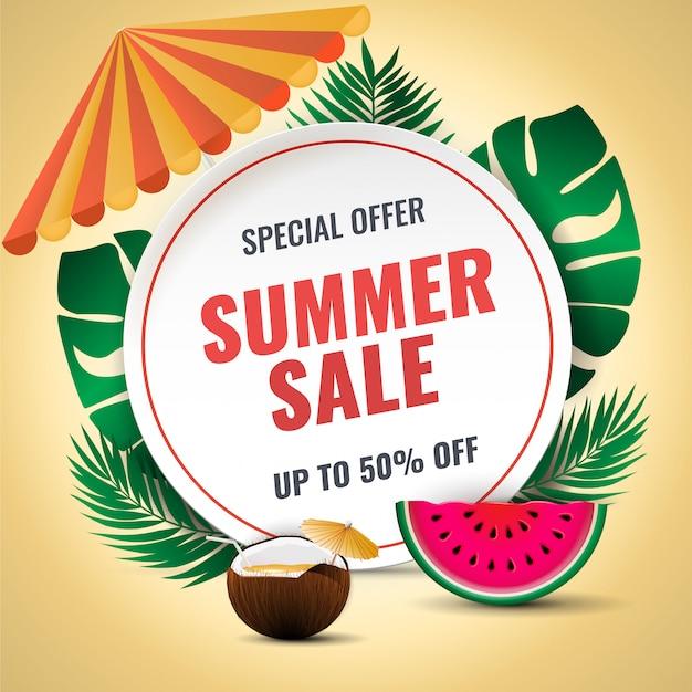 Zomer verkoop vector banner ontwerp met kleurrijke zomer elementen