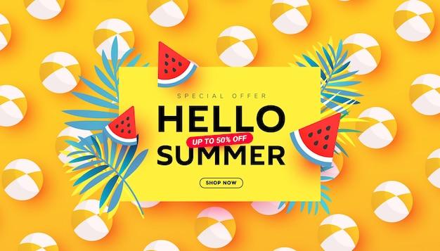 Zomer verkoop vectorillustratie met tropische bladeren strand accessoires rijpe watermeloen