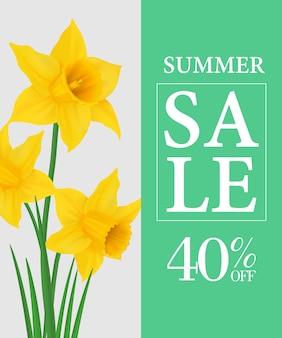Zomer verkoop veertig procent korting poster sjabloon met gele narcissen
