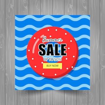 Zomer verkoopsjabloon banner met reddingsboeien en golven