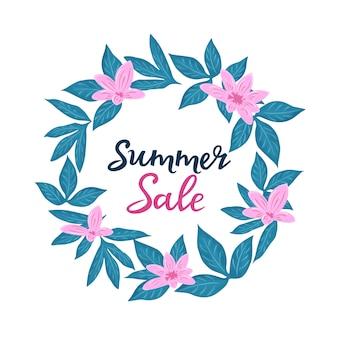 Zomer verkoopsjabloon voor seizoensgebonden kortingen. floral posters of banner ontwerp met bloemen