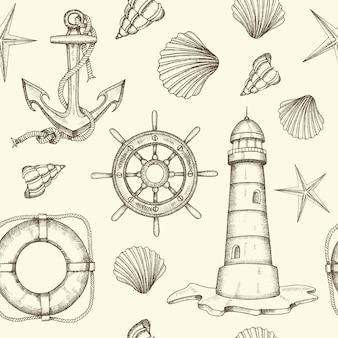 Zomer vintage nautische naadloze patroon
