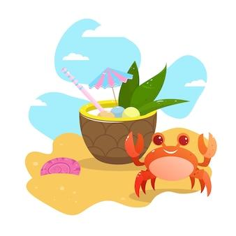 Zomer wenskaart. ansichtkaart. vector. grappige krab op het strand in het zand. ananascocktail op het strand.