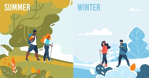 Zomer winter set met seizoensgebonden mensenactiviteiten