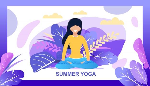 Zomer yoga belettering banner met gebladerte