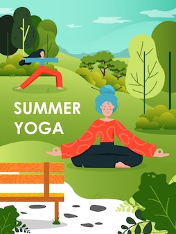 Zomer yoga poster sjabloon