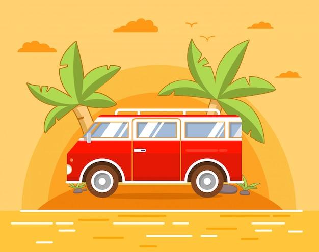 Zomer zee landschap met het tropische eiland met palmbomen en het zandstrand. een retro de vintage bus voor reizen naar een vakantie en reizen.