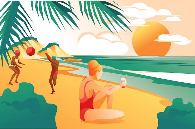 Zomer zee strand achtergrond met ontspannende mensen.