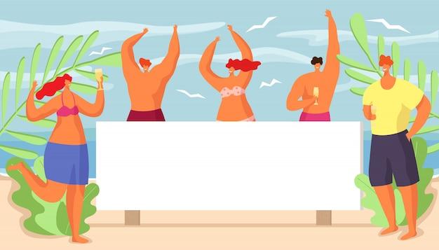 Zomer zee strand met mensen, illustratie. tropische zonvakantie, feestvakantie poster. reizen levensstijl vrije tijd, gelukkige meidengroep in bikini achtergrond. persoon bij aard oceaan.