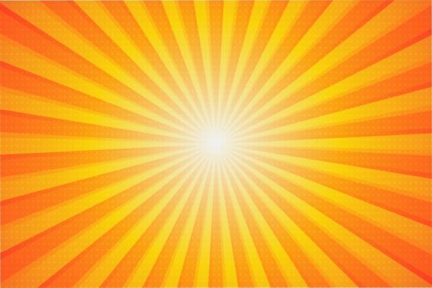 Zomer zonne-achtergrond. de zonnestralen die zich in de zomer vanuit het midden verspreiden.