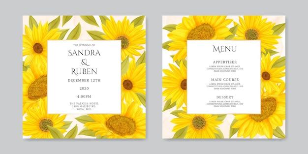 Zomer zonnebloem bruiloft uitnodiging en menukaartsjabloon card