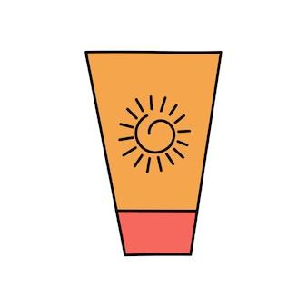 Zomer zonnebrandcrème bodylotion bescherming tegen de zon en uvb-uva-stralen eenvoudige illustratie