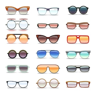 Zomer zonnebrillen, mode-brillen plat pictogrammen. mode zonnebril collectie
