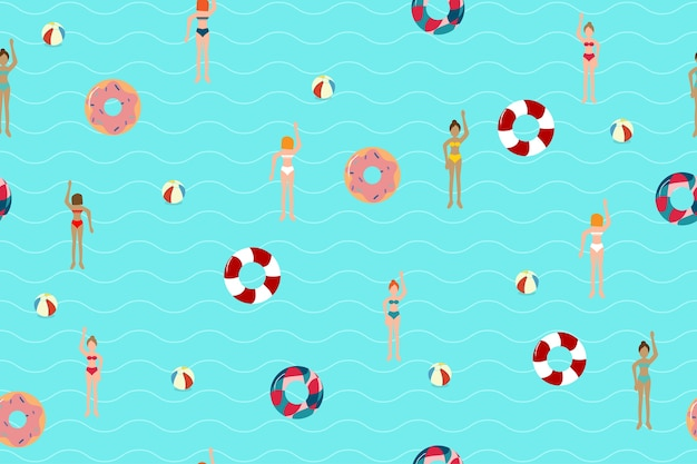 Zomer zwembad naadloze patroon achtergrond