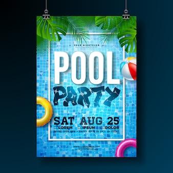 Zomer zwembad partij poster of flyer ontwerpsjabloon met palmbladeren en strandbal