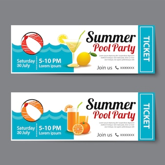 Zomer zwembad partij ticket sjabloon