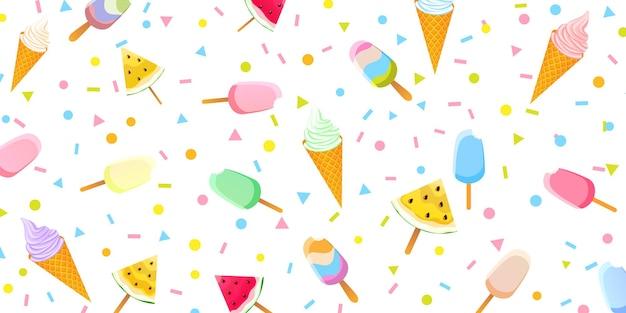 Zomerachtergrond met gekleurde ijslollys, ijs in wafelkegels en stukjes watermeloen.