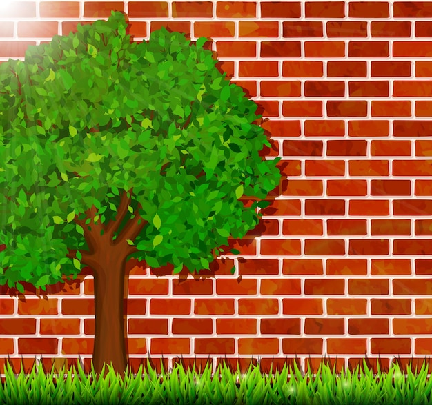 Zomerachtergrond met groen boom-, gras- en bakstenen muurontwerp