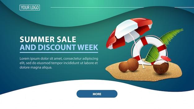 Zomeractie en kortingsweek, moderne goedkope webbanner voor de site