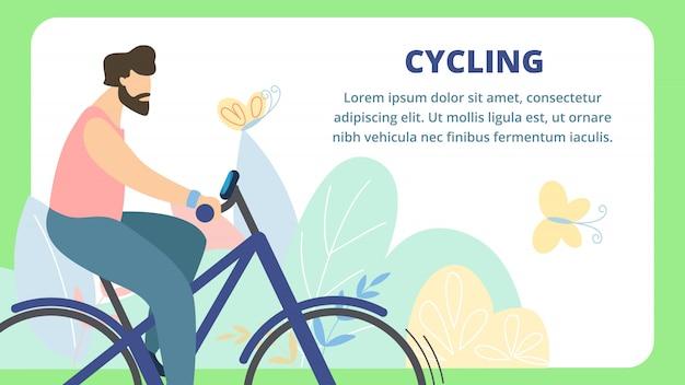 Zomerbanner is written cycling cartoon flat