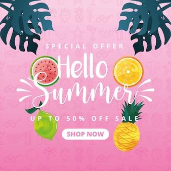 Zomerbanner met tropisch fruit. speciale aanbieding winkel nu