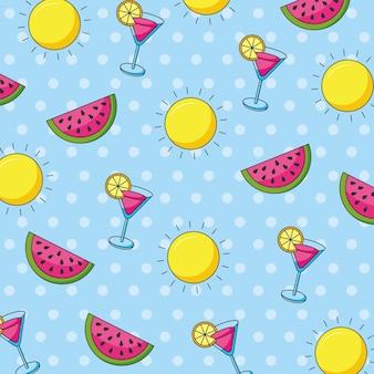 Zomerbanner met watermeloenen en cocktailspatroon