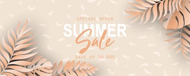 Zomerbannersjabloon voor reclame voor zomercollectie of seizoensgebonden verkooppromotie