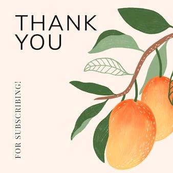 Zomerbloemen bedankt voor het abonneren op sociale sjabloonvector