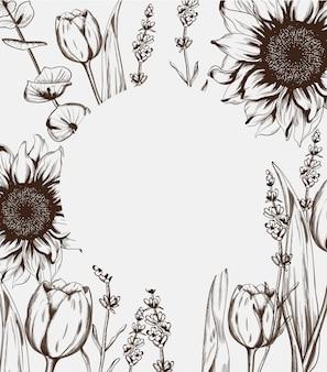 Zomerbloemen lijn kunst frame achtergrond