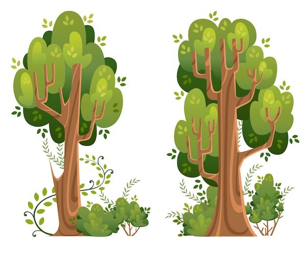 Zomerbomen en struiken in stijl. groene ruimtes. illustratie op witte achtergrond. website-pagina en mobiele app Premium Vector