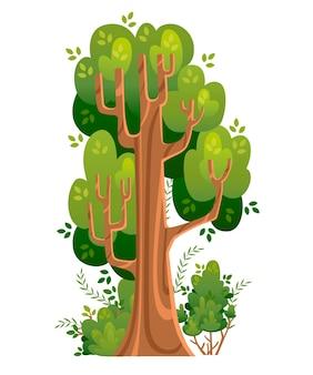 Zomerboom en struiken erin. groene ruimtes. illustratie Premium Vector