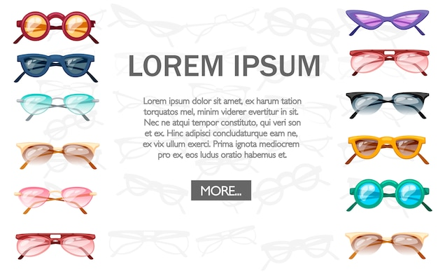 Zomercollectie zonnebrillen. kleurrijke plastic glazen. illustratie op witte achtergrond. plaats voor tekst
