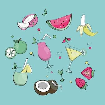 Zomerdrankjes met tropisch sappig fruit.