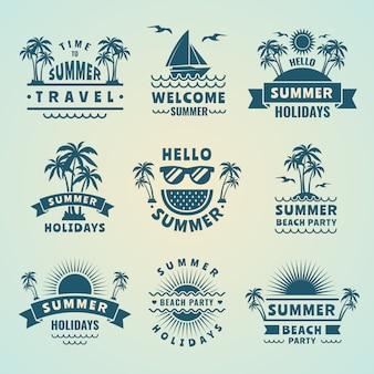 Zomeretiketten of tropische logo's