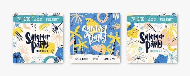 Zomerfeest post sjablonen set. dj festivaluitnodiging versierd met palmbomen en tropisch strand