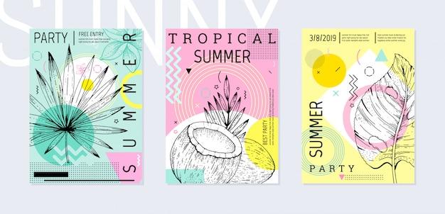 Zomerfeest poster in geometrische memphis-stijl met schets tropische bladeren.