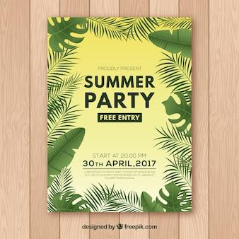 Zomerfeest poster met palmbomen ontwerp
