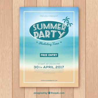 Zomerfeest poster met strand ontwerp