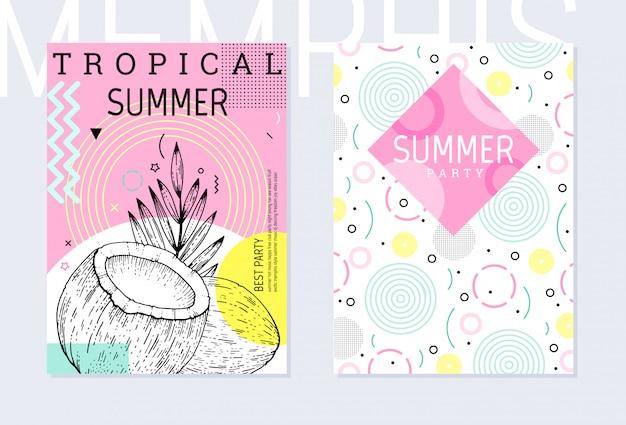 Zomerfeest poster patroon set, geometrische memphis stijl. coole trendy flyer met typecitaat.