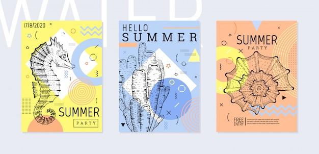 Zomerfeest poster set, geometrische memphis stijl