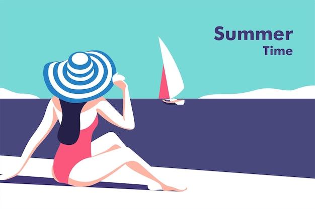 Zomerfeest vakantie en reisconcept meisje op het strand flyer of posterontwerp in minimalistische stijl