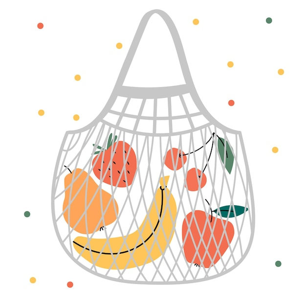 Zomerfruit en bessen. banaan, appel, peer, kers, aardbei, watermeloen.