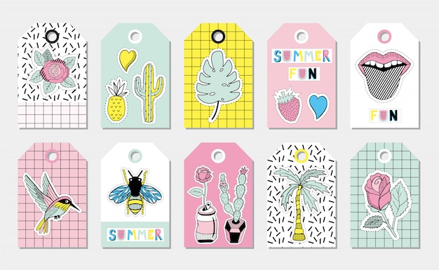Zomergift-tags met stoffen patches.