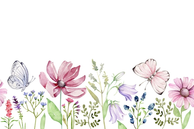Zomergrens met bloemen Premium Vector